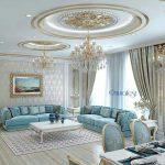 آبی و خاکستری، دو رنگ جذاب در دکوراسیون اتاق نشیمن